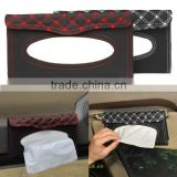 Car Sun Visor Tissue Paper Box Case Auto Interior Decoration Accessories Holder Napkin Clip PU leather