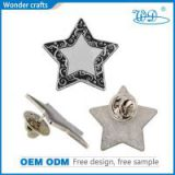 Custom zinc alloy imitation silver plating butterfly clutch souvenir star shape metal lapel pins