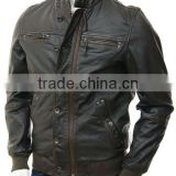 Men's Leather Bomber Jacket in Brown