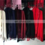 woman winter faux-fur trimmed ponchos with fringe alpaca wool ruana shawl coat