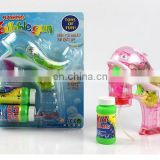 Transparent red Dolphin led Bubble Electric Gun with music& LED flashing, include 2 bubble solutions