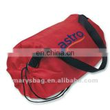 nylon bag with round fitted bottom and drawstring closure with locking toggle and black web carry strap