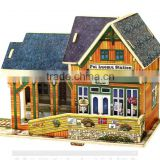 Promotional DIY 3D wooden toy house Norway Railway Station