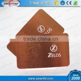Brushed rose gold stainless steel metal card with writable signature panel and laser engraved logo, China Manufacturer
