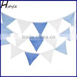 Blue and White Navy Style Cotton Flag Bunting for Wedding,Party,Kids Bedroom Decoration PL028