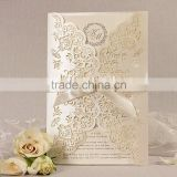 Fashion Gold Ivory Royal Arabic Wedding Invitation Card Material                                                                         Quality Choice