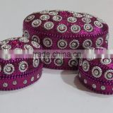 Antique Glitter beads jewelry box Indian Ornament Mirror Boxes