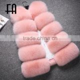 Factory direct fashion lady's baby pink arctic fox fur vest