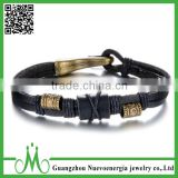 Vintage Alloy Braided Rope Leather Bracelet for Men And Women Chic Alloy Bead Wrist Wrap Cuff Bangle