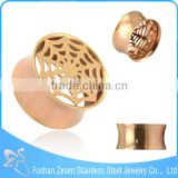 Rose Gold Spider Web 316l Surgical Steel Ear Plug Piercing Jewelry