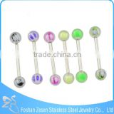 Wholesale Straight-Bar With Double Resin Balls Free Sample Tongue Rings