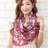 hangzhou Sunsreen joker fields and butterfly floral chiffon scarf women winter warm scarves, pashmina shawl