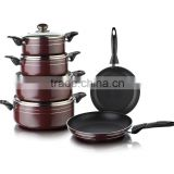 12 Pcs Brown Coffee Color Aluminum Press Non-stick /Ceramic Cookware Set (ZS-C1912)