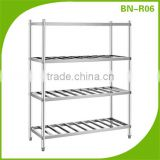 Economical Catering Equipment 4 Shelf Stainless Steel Kitchen Pot Dish Racks (Round Tube Feet)