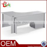 modern design L-shaped office table with mobile cabinet lockable fashion office staff furniture table C02