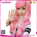 Pink Long Stock Virgin Hair Ombre Synthetic Side Part Lace Front Wigs