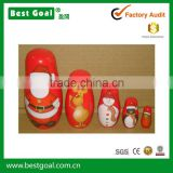 Bestgoal handmade Santa Claus wooden craft wooden matryoshka russian christmas nesting dolls