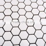 Hexagon white ceramic mosaic tiles for swimming pool and bathroom                                                                         Quality Choice