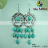 Fashion Jewellery Synthetic Blue Turquoise Dangling Earrings