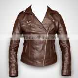 Brown Leather Golden Zipper Ladies Jacket Women Biker Jacket Motorcycle Overcoat