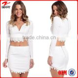 Fashion long sleeve white latest skirt and blouse with daisy chain triming                                                                         Quality Choice