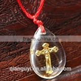 Cross crystal pendant necklace women men cross beads jewelry trendy gold plated pendant for jewelry accessories