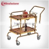 Hotel Double Layers Titanium Amrest Banquet Table Wine Liqueur Trolley/Drink Service Cart