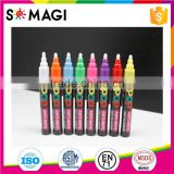 8 Pack Fluorescent colors Anti-wipe Wet Erase Marker with Reversible 6mm Tip for Glass, Window & LED Art Menu Writing Board
