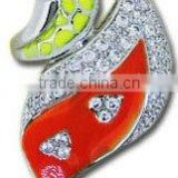 QMR032 jewellery ring design with colorful enamel,18k gold ring with CZ from manufacturer
