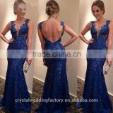 Alibaba Elegant Long New Designer Cap Sleeve Royal Blue Color Lace Mermaid Evening Dresses Or Bridesmaid Dress LE35
