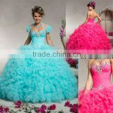 2013 sweetheart beaded sequined sweetheart ruffled ball gown custom-made turquoise Quinceanera dresses with bolero CWFab5529