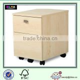 2-Drawer Mobile File Cabinet in Natural Maple