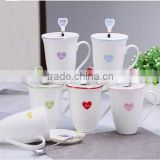 ceramic heart shaped tea cup with spoon & lid,Love Shape Ceramic Coffee Mug with Lid and Spoon Household