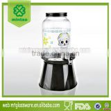 Halloween juice dispenser skull paper transfer with black lid metal s'tand