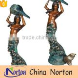 Cast technique nude mermaid brass fountain garden decor NTBF-MF007Y