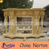 Carved lady statue marble factory wholesale fireplace mantel NTMF-F827A
