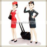 2014 Hot sale top quality modern beautiful plastic vivid airline stewardess toy, sex girl cartoon figurine