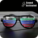 Amazon Best Seller Black Color Sound Activated Crazy Led Sunglasses Glitter Party Sunglasses