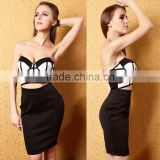Wholesale cheap black and white cut out strapless sweetheart bodycon girl cocktail party dress