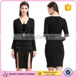 2016 Black Long Sleeve Woman Bandage Dress