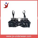 2014 js-806pure cotton no pad black bra with folower printing from China Shantou Gurao factory(accept OEM)