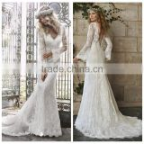 v neck lace open back backless wedding dress with long sleeves