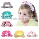 Newest Baby Girls Knotted Headband Chic Dot Print Turban Headwear Elastic Cotton Knit Headbands