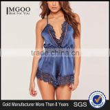 2017 Hot Sale Sexy V Neck Lace Trim Satin Pyjama Set Blue Lace Teddy Elasticated Waist Halter Back Strap Sleepwear