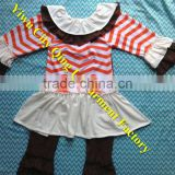 Persnickety Baby Girls Back To School Clothing Sets Boutique Children Chevron Ruffle Tunic Top with Pants Outfit for Halloween