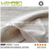 wholesale high quality 55%hemp/45%orgaic cotton jersey T shirt fabric form china manufacturer