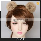 High quality fur accessory hand made real fur pompom hair bands for girl