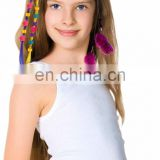 2015 new fashion DIY toy set colorful feather/synthetic clip-in hair extension for kids-1