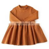 Baby Girls dress Warm Kids Clothing Wool Knitted Girl Solid Long Sleeve Dresses Autumn Winter