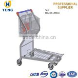 Folding Wire Steel Supermarket Trolley Cargo Cart Warehouse Trolley CA13